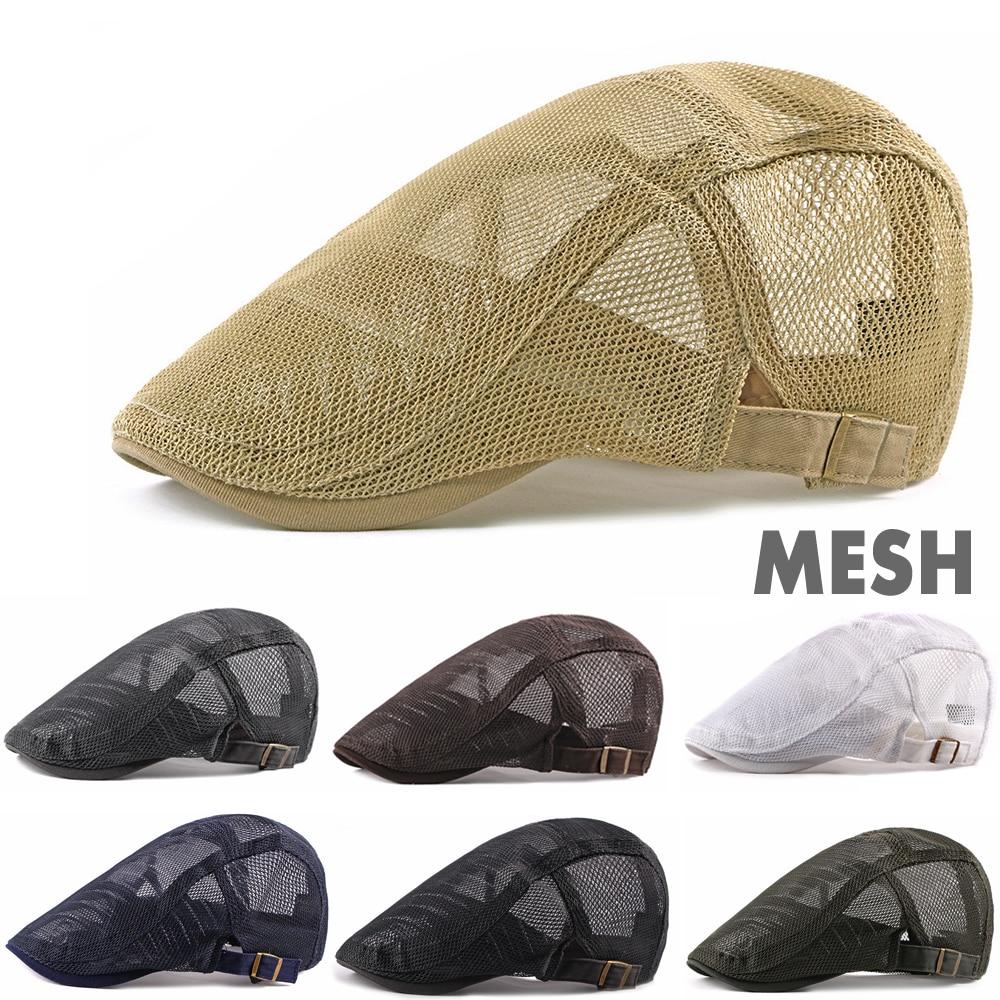 Men Women Mesh Summer Style Plaid Berets Caps Grain Cotton Gatsby Cap Unisex Ivy Hat Golf Driving Summer Sun Flat Cabbie Newsboy