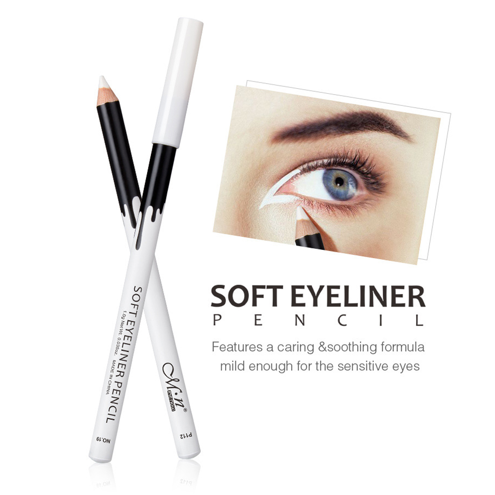 White Eyeliner Pencil Brighten Smooth Soft Eye Liner Pen Makeup Waterproof Easy To Wear White Eyeliner Women Cosmetics