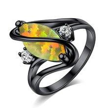 Anello in oro nero opale opale anello in opale semplice per il commercio estero gioielli con occhio di cavallo opale europeo e americano