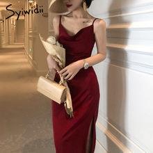 Syiwidii – robe de soirée en Satin pour femmes, décontractée, sans manches, à bretelles Spaghetti, droite, rouge, noir, mode française, printemps été 2021