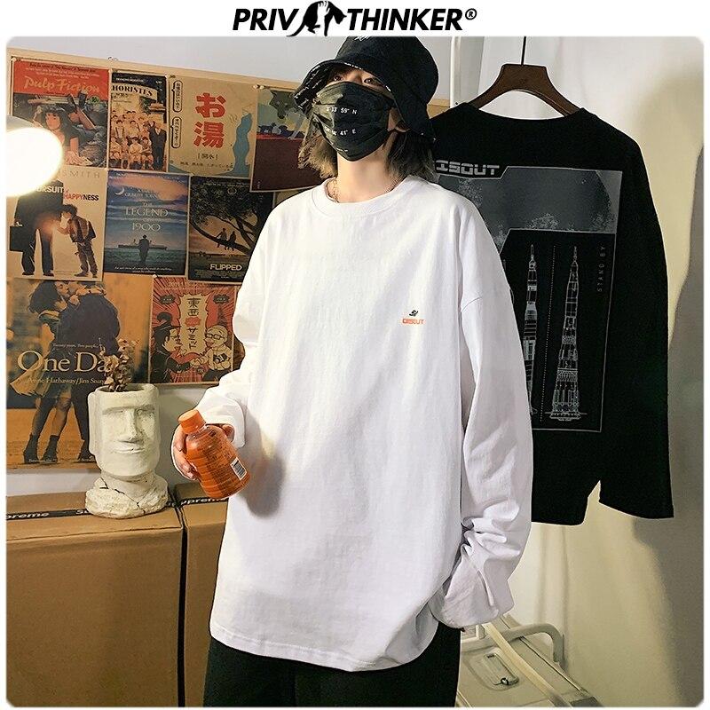Privathinker Men Woman Hip Hop Print Tshirt Mens Spring 2020 Streetwear 5XL T-Shirt Casual Korean Long Sleeve T-shirts Fashions