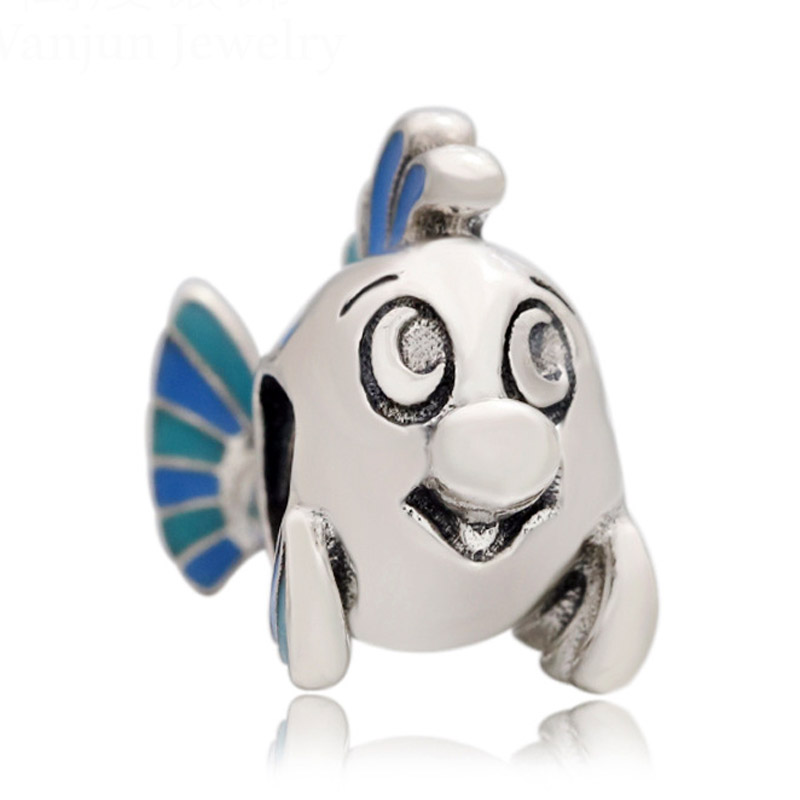 New 925 Sterling Silverl Bead Charm Blue Enamel The Little Mermaid Flounder Beads Fit Pandora Bracelet Bangle Diy Jewelry(China)