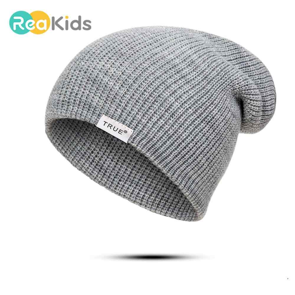 REAKIDS New Winter Baby Hat Thick Kids For Girls Boys Parent Child Hat Cotton Women Men Hat Warmer Children Cap Knitted Lady Hat