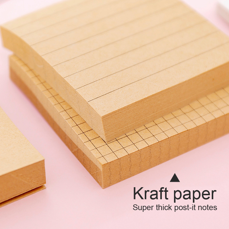 Kraft Paper Grid Tabs Sticky Notes Memo Pad Stationery Memo Pads Sheets Post It Notepad Stationary  Office Decoration Note Pad