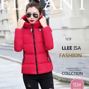Image 5 - Winter Parkas Women 2020 jesień Plus rozmiar 5XL kurtka gruby kaptur ciepła krótka odzież wierzchnia kobieta cienka bawełna wyściełana top prosty ZH084