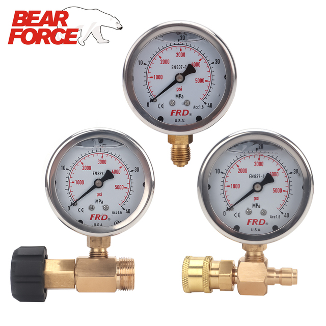 """مقياس ضغط غسالة الضغط العالي ، مقياس الضغط العالي مع تركيب G1/4 """"، مقياس ضغط هيدروليكي 400Bar 6000PSI"""