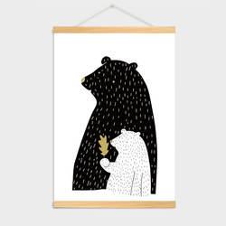 2-AliExpress Горячая Распродажа мультфильм Медведь Детский сад декоративная живопись детская комната твердой древесины прокрутки картина