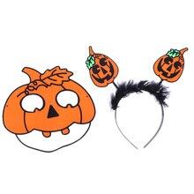 Flocking Pumpkin with Leaf Hair Hoop Funny Mask for Party Orange