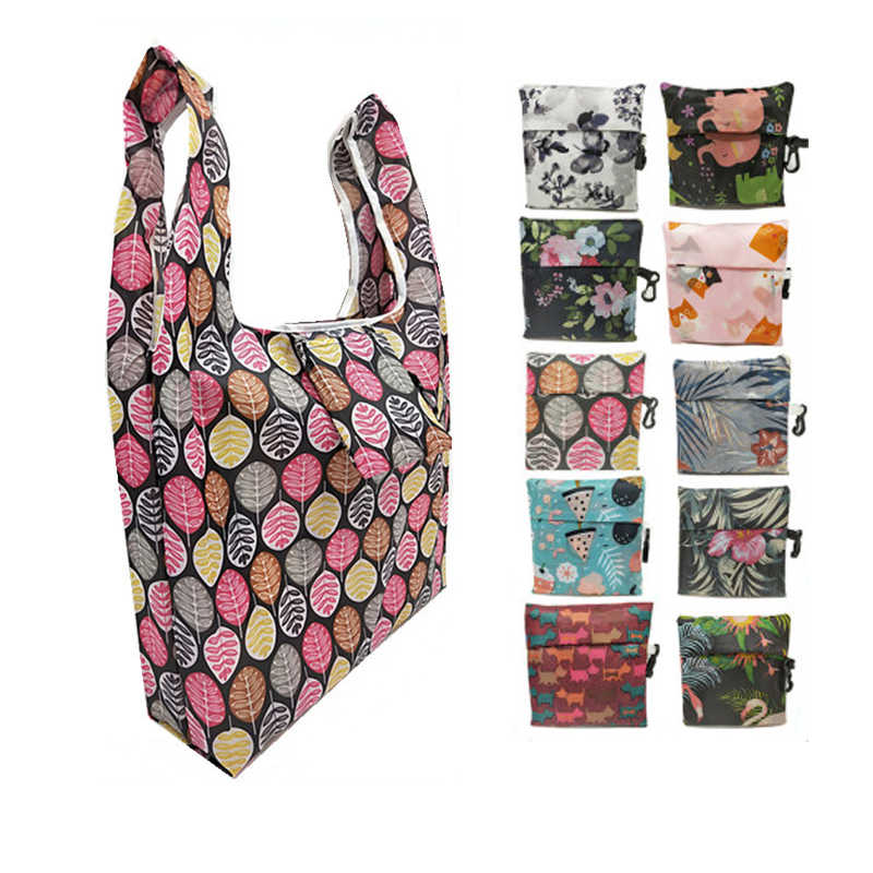 Women Foldable Eco-friendly Shopping Bag Tote Pouch Portable Grocery Storage Bag Cactus Dots Printing Ecological Reusable Bags