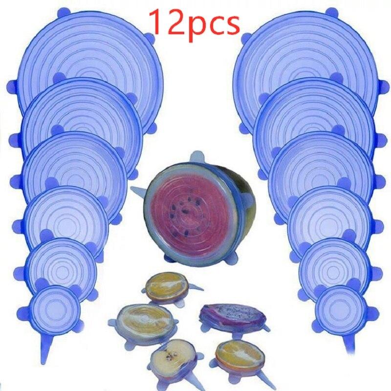 6/12Pcs Stretchable Silicone Lids Reusable Universal Food Lids Cover Kitchen Reusable Washable Silicone Food Wrap Magic Lid