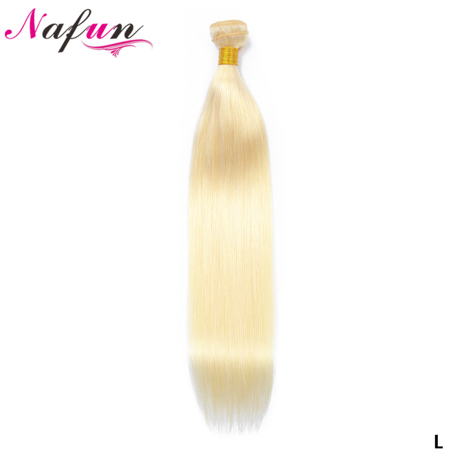 NAFUN Brazilian Straight Hair Bundles 100% Human Hair Extension 8 To 30 Inch Bundles Non-Remy Hair Weaving #613 Blonde Bundles