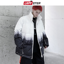 LAPPSTER Men Patchwork Tie Dye Parkas 2020 Man Japanese Streetwear Bubble Coat Male Hip Hop Black Winter Jackets Coats Plus Size