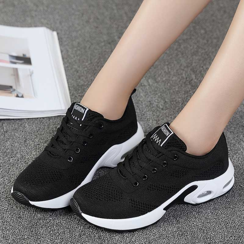 Women Air Cushion Sports Shoes Women Fashion Breathable Walking Mesh Flat Shoes Black Sneakers 2019 Tenis Feminino Casual Flats