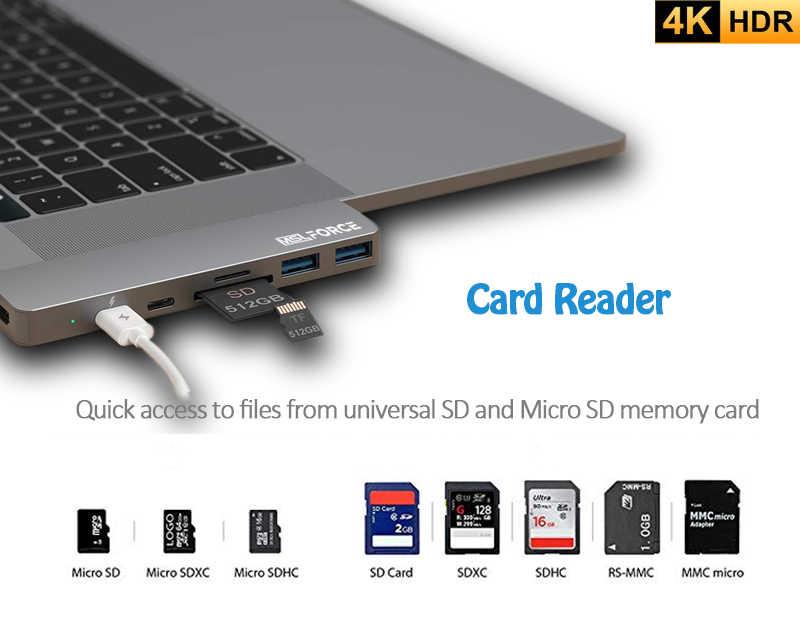 Usb C Hub Type C Thunderbolt 3 Dock 7 In 1 USB-C Adapter Dual Type C Hdmi Usb 3.0 Poort tf Slot Micro Sd Card Voor Macbook Pro Air