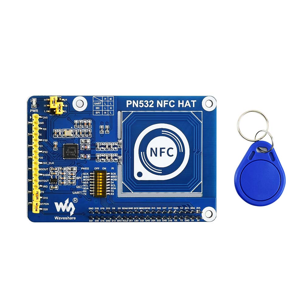 Waveshare PN532 NFC HAT For Raspberry Pi, Supports Three Communication Interfaces: I2C, SPI, And UART