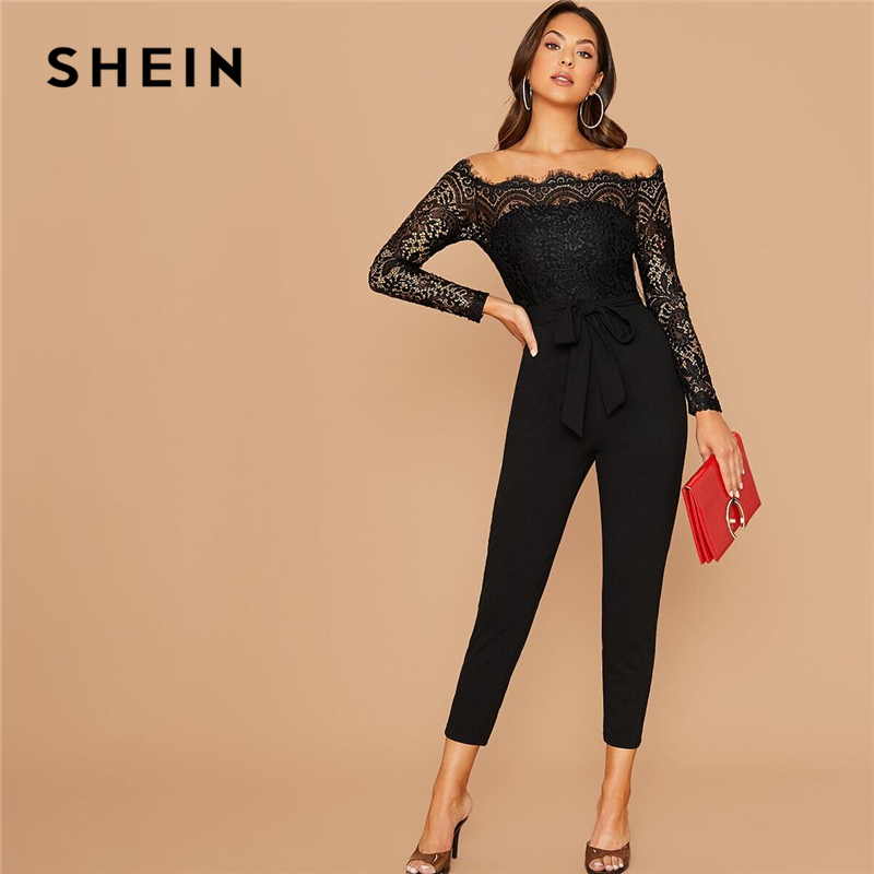 SHEIN Black Off Shoulder Lace Bodice Self Belted Jumpsuit Women Autumn Solid High Waist Skinny Party Glamorous Jumpsuits 1
