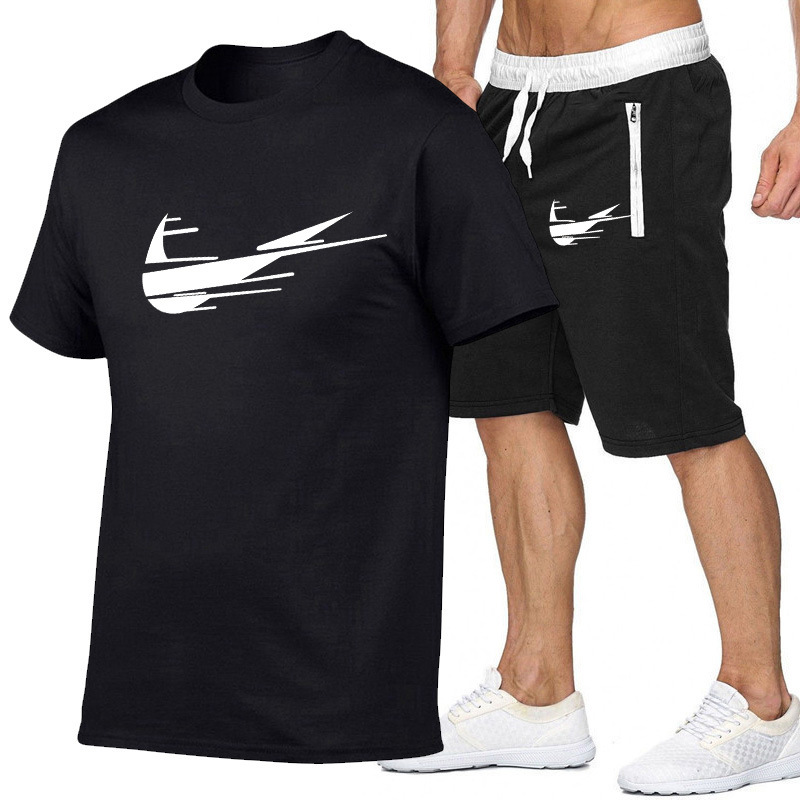New Style Short Sleeve T-shirt Men's Summer Europe And America MEN'S T-shirt Hot Selling Men Casual T-shirt + Shorts Set