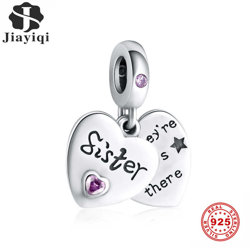 Jiayiqi Sister Friendship Heart-Shaped Charms 925 Sterling Silver CZ Beads Fit Women Pandora Charms Silver 925 Original Jewelry