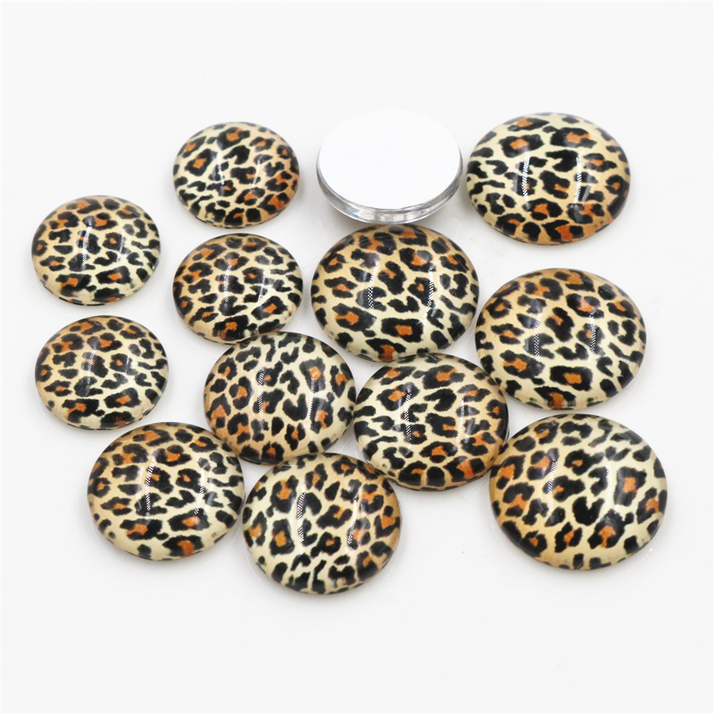 20pcs/Lot 14mm 16mm 18mm Leopard Handmade Photo Glass Cabochons Fit 14mm 16mm 18mm Cameo Cabochon Base For Bracelet Ear Studs