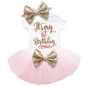 1 Year First Birthday Baby Dress for Girl Infant Party Wear Toddler Summer Kids Clothes Princess Outfit Christening Gown Vestido(China)