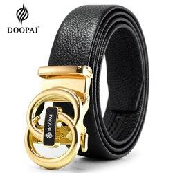 DOOPAI Genuine Leather Ratchet Mens Belt Automatic Adjustable Belts Gold Leather Belt Men Business Casual Belt for Men 110-130cm
