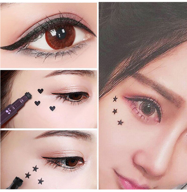 2 In 1 Liquid Glitter Eyeliner with Eyeliner Stamp Thin Wing Seal Makeup Black Brown Smoky Eyes Liner Pencil 3