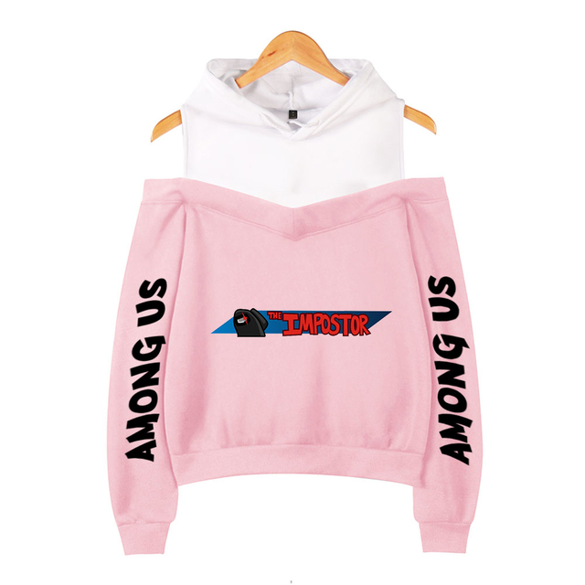 AMONG US CROP TOP OFF SHOULDER HOODIE (20 VARIAN)