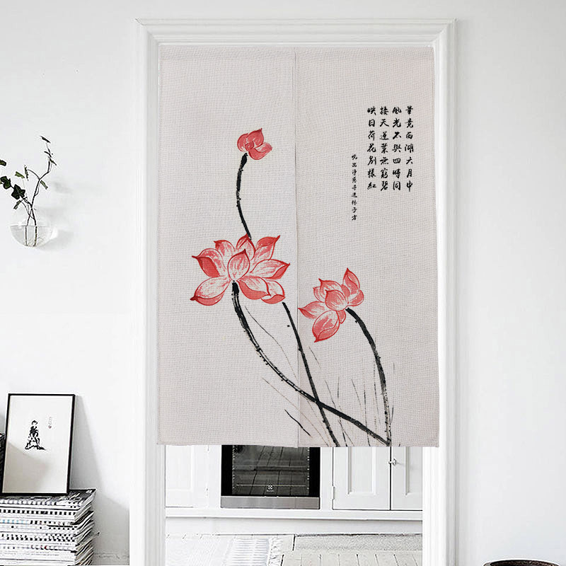 Chinese Ink Lotus Pattern Door Curtain Bedroom Partition Curtain Kitchen Half Curtain Feng Shui Curtain Japanese Curtain Noren