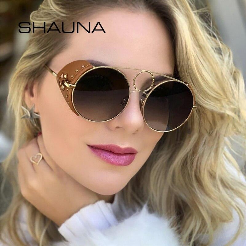 Shauna luxo pu couro punk óculos de sol feminino retro rebite redondo steampunk óculos masculinos