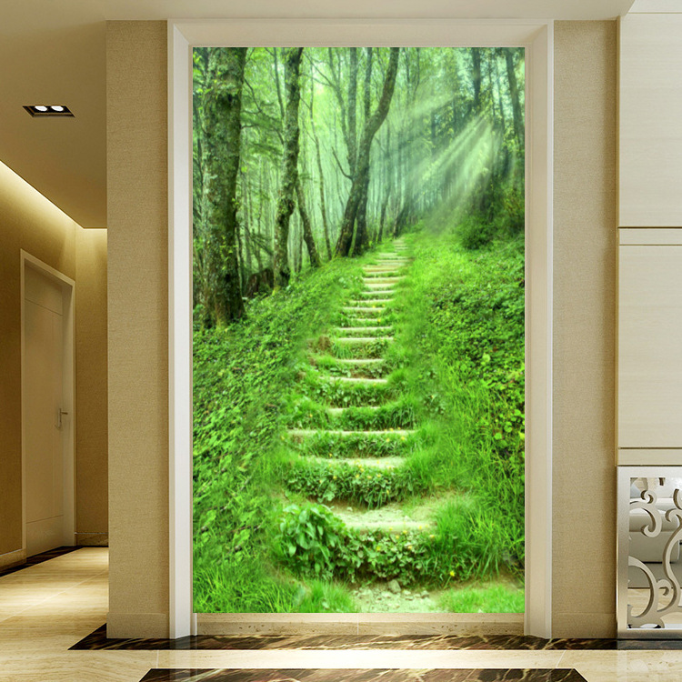 Large Mural 3D Pastoral Style Entrance Hallway Corridor Background Wallpaper Living Room Stereo Landscape Painting Forest Wall C