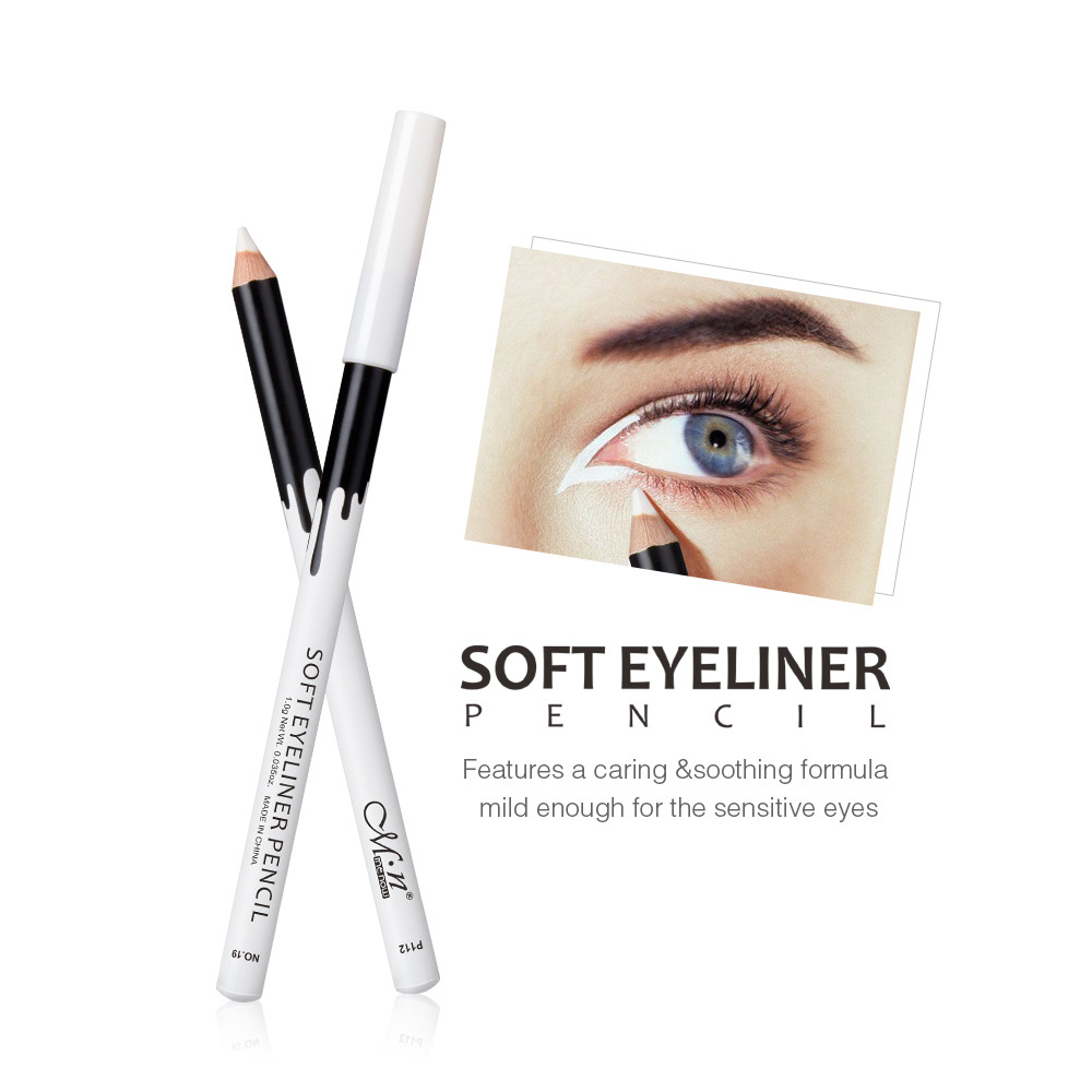 Waterproof White Eyeliner Pencil Smooth Soft Eye Liner Pen Makeup Brightener Easywear White Eyeliner Women Cosmetics
