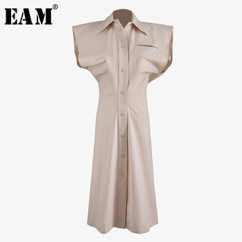 [EAM] Women Pleated Split Joint Shaped Shirt Dress New Lapel Short Sleeve Loose Fit Fashion Tide Spring Summer 2020 WM25104