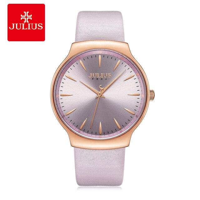 새로운 우아한 줄리어스 여자 시계 일본 mov 시간 없음 패션 시계 진짜 가죽 팔찌 여자의 생일 크리스마스 선물 상자