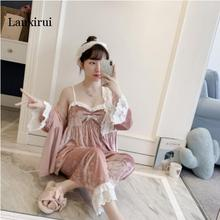 Autumn Winter Warm Pajamas Set Home Clothes Woman Sexy Lace Robe Pajamas Sets Sleepwear Sleeveless Nightwear july s song 4 pieces velvet warm pajamas set women sexy lace sleepwear pajamas suit winter sling nightdress woman nightwear