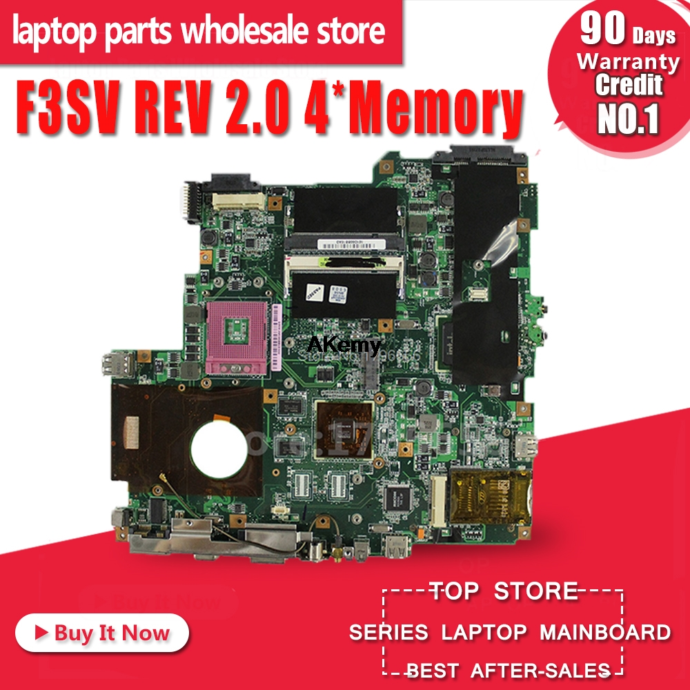 F3SV REV 2.0 4*Memory 8600G For ASUS F3S Z53S F3SG F3SR F3SC F3SA F3SE F3SG  Laptop Motherboard Tested Good And Work Perfect
