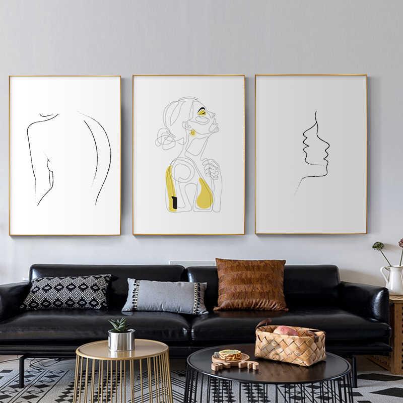 Abstrakcyjne kobiet rysowanie linii Nordic plakaty i reprodukcje nowoczesne na płótnie malarstwo ścienne sztuki żółty dziewczyna obraz na ścianie sypialni wystrój domu