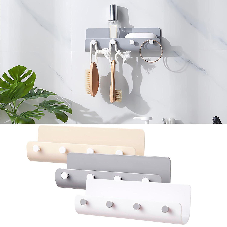 4-Hook U-shape Wall Mount Hooks Self-Adhesive Keys Storage Rack Holder Hanger Organizer For Home Office Kitchen Living Room