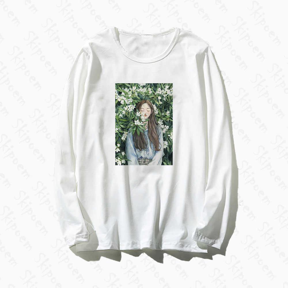 Anime menina em flores camiseta feminino estilo coreano gótico estética vintage manga longa plus size algodão camiseta femme topo camisetas