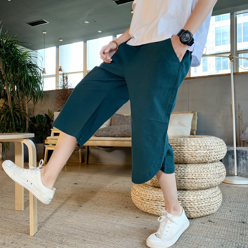 19 Summer Fashion Casual Cropped Trousers For Men Loose-Fit Men's Trousers Popular Brand INS School Pants Shorts 992aj3