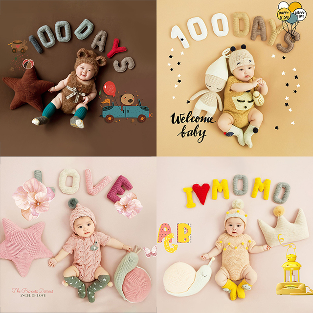 Newborn 100 Days Photo Frame Costume Photo Background Prop Creative DIY Theme Photographic Clothing Studio Shooting Photo Prop 2