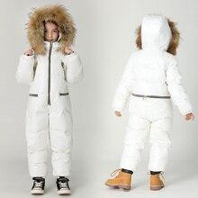 Tamanho grande macacão das crianças para baixo jaqueta de inverno meninos esqui para baixo terno meninas grosso inverno quente outwear crianças siamese para baixo jaqueta