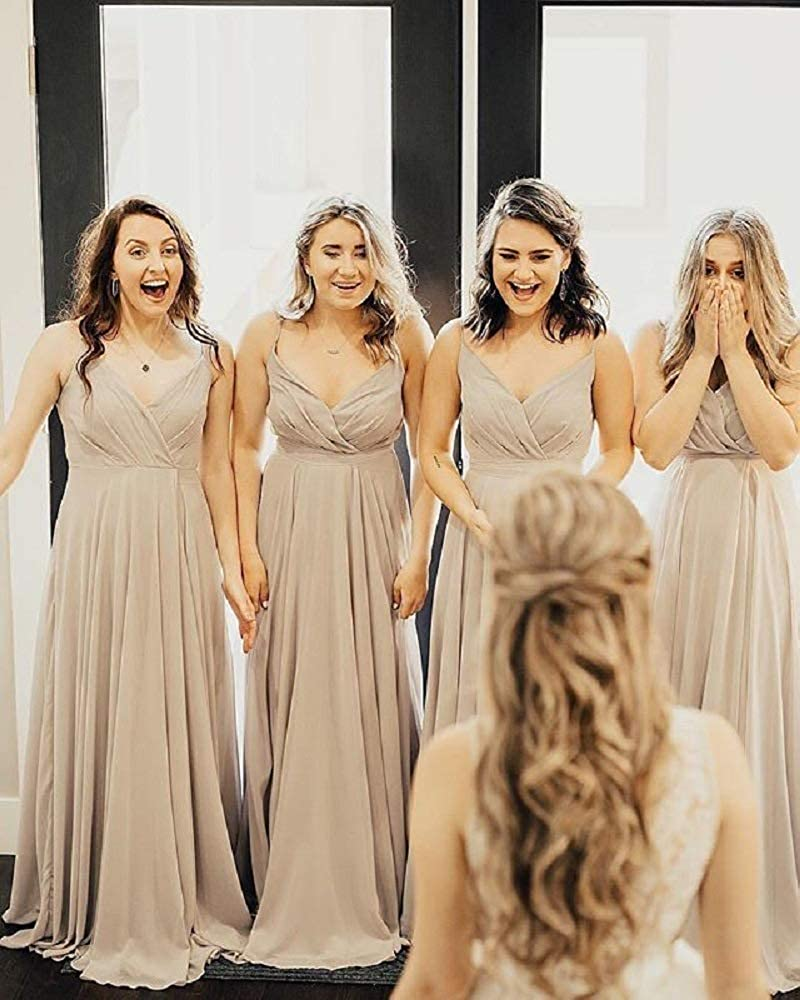 Sexy A-Line Long Chiffon V-Neck Bridesmaid Dresses with Pockets Floor Length Custom Corset Pleated Bodice Wedding Party Dresses