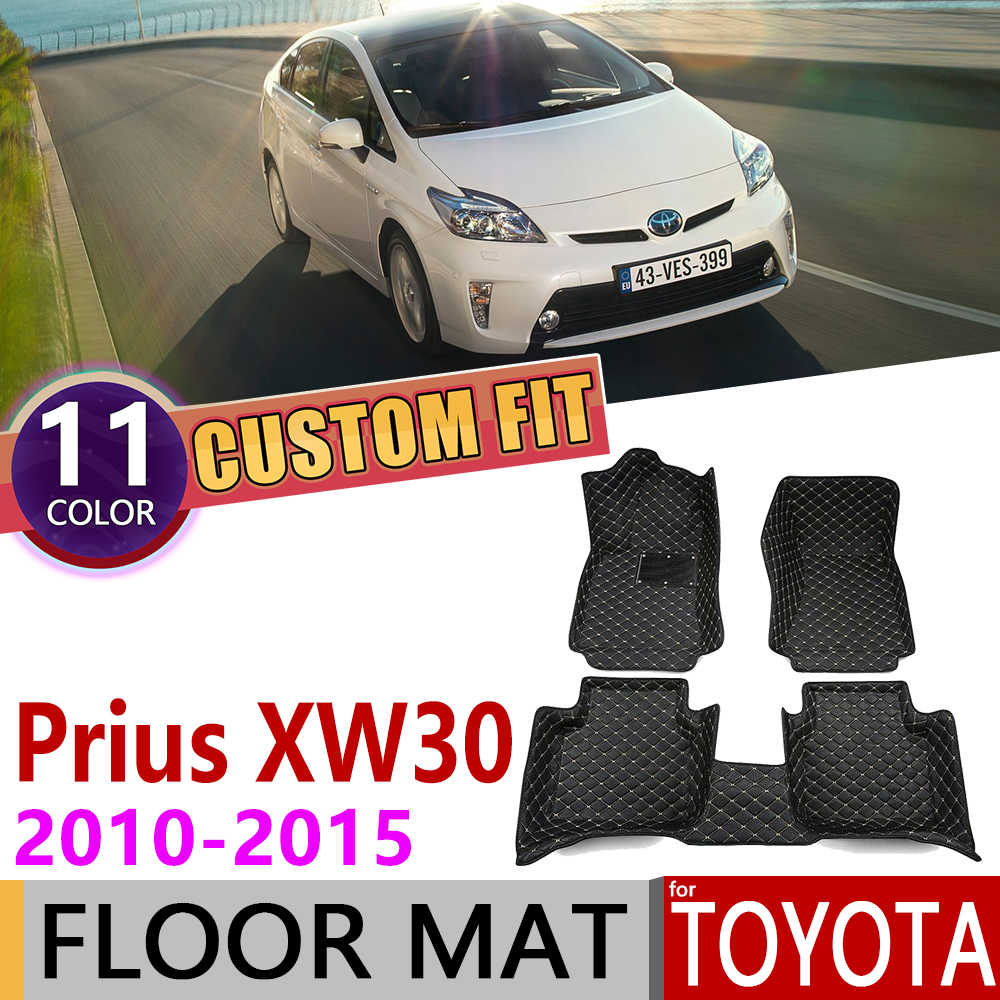 Custom Leather Car Floor Mats For Toyota Prius XW 30 XW30 2010~2015 5 7 Seats Foot Pad Carpet Accessories 2011 2012 2013 2014