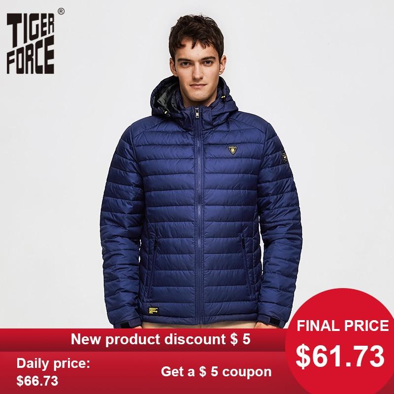TIGER FORCE Men Spring Jacket Fashion Cotton Padded Jackets Casual Coat Detachable Hood Parka Windbreaker Man Puffy Coats