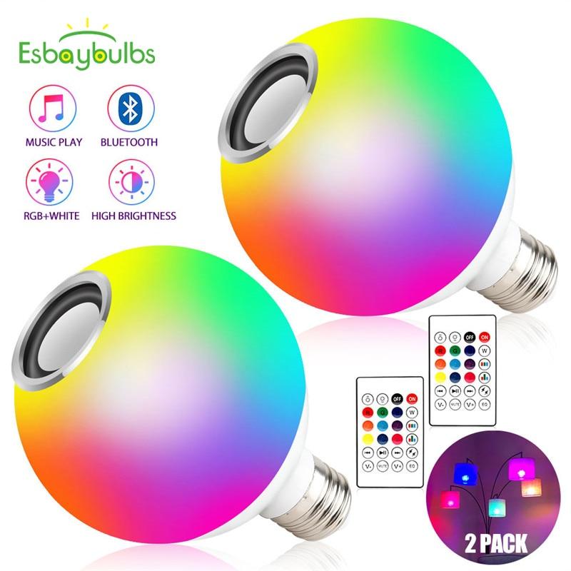 2 шт. Blub Smart E27 RGB белый Bluetooth динамик светодиодный светильник лампа для воспроизведения музыки с регулируемой яркостью Беспроводная лампа с дистанционным управлением с 24 клавишами|Светодиодные лампы и трубки|   | АлиЭкспресс