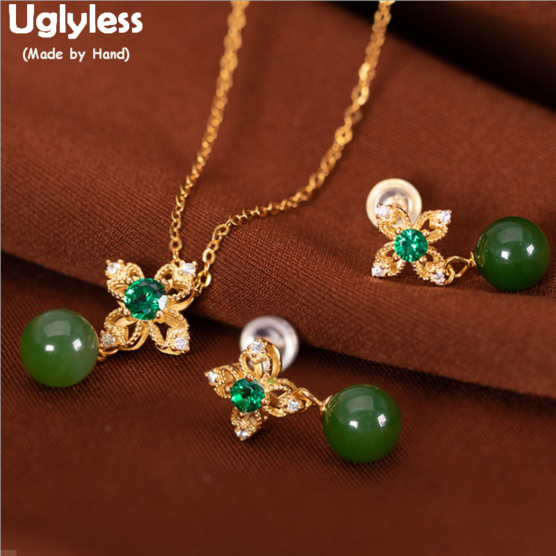 Uglyless Luxury Natural Green Jade Balls Flowers Jewelry Set for Women Plated Gold Earrings + Necklaces 925 Silver Bijoux E1368