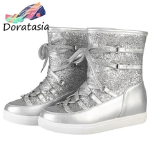 DORATASIA New 33-43 Fashion Silver Booties Ladies Winter Super Warm Platform Ankle Snow Boots Women 2019 Wedges Shoes Woman