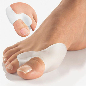 2PCS Silicone Gel Thumb Corrector Bunion Little Toe Protector Separator Hallux Valgus Finger Straightener Foot Care Relief Pads(China)