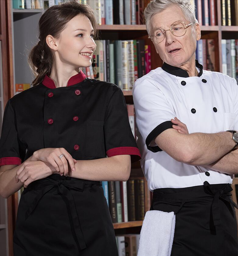 New Unisex Cook Suit Restaurant Chef Jacket Fashion Chef Uniform Cook Clothes Summer Spring Kitchen Work Wear No Shrink CK258