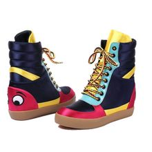 Marke Hip Hop Casual Schuhe Frauen Herbst Winter High Top Stiefel Fashion Gemischte Farben Lace Up Erhöhung 4CM Knöchel schuhe(China)